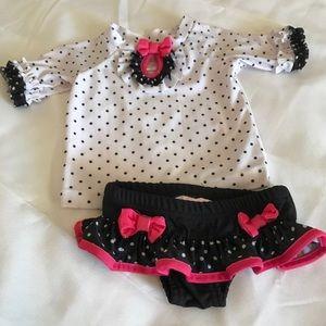 Black & Pink Polka Dot 2pc Swim suit